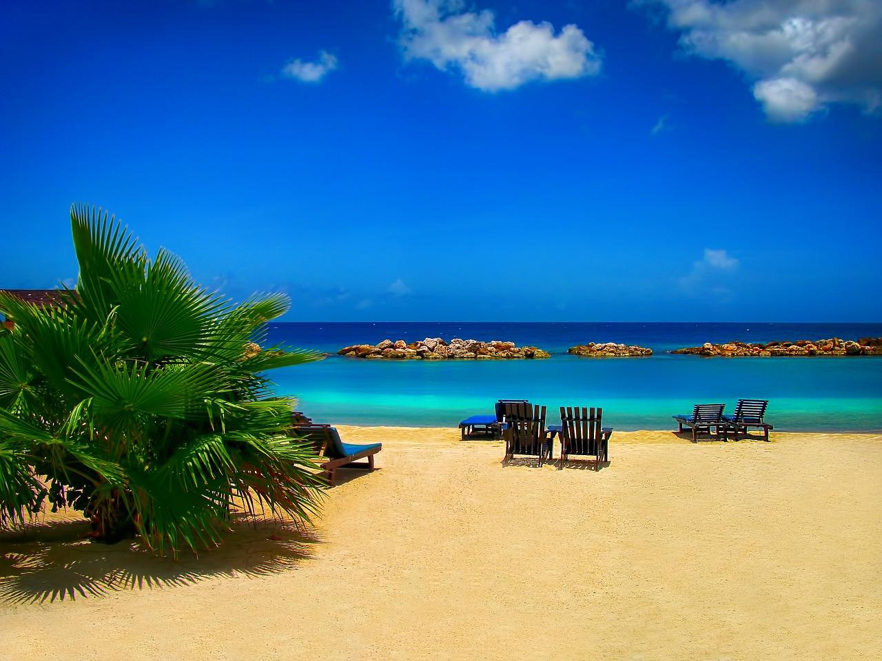leżaki na plaży nad oceanem